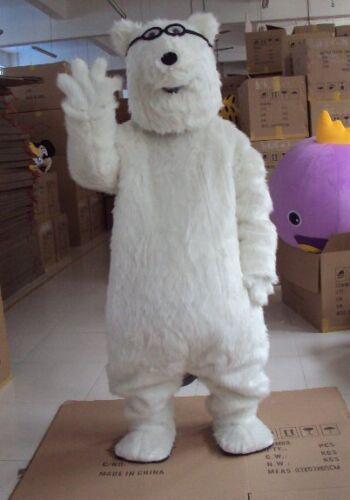 News White Glasses Polar Bears Party Dress Halloween Mascot Kawaii Costume US