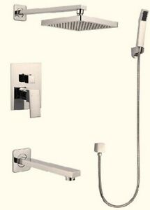 Square shape Brush Nickel shower set with long spout