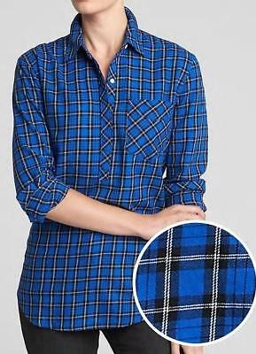 NEW NWT Womens GAP Blue Plaid Popover Boyfriend Fit Button Up Blouse Shirt *F9