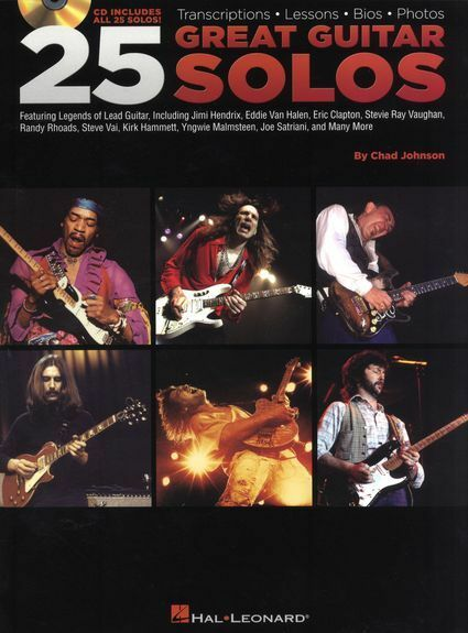 Chad Johnson 25 Great Guitar Solos Learn to Play Rock Lead TAB Music Book