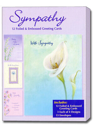 Box Of Sympathy Cards - Sympathy Assortment - Foiled & Embossed Assorted Box of 12 Sympathy Cards