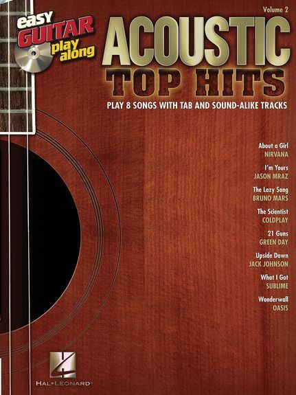 Acoustic Top Hits Learn to Play Pop Rock Songs Guitar TAB Music Book & CD