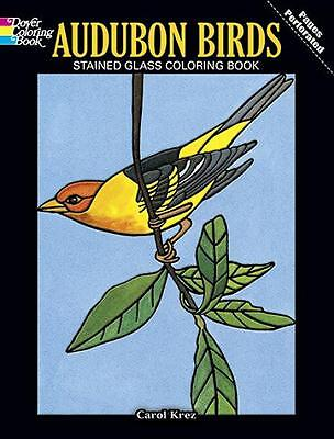 ADULT COLORING BOOK ~ AUDUBON BIRDS STAINED GLASS ~ PERFORATED PAGES FOR FRAMING Audubon Birds Stained Glass