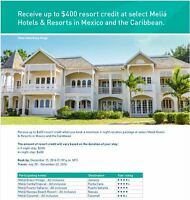 Receive up to $400 resort credit @ select Meliá Hotels & Resorts