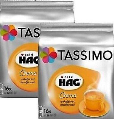 2 x Packs Tassimo Cafe HAG Crema Decaffeinated T Discs Pods - 32 Decaf Drinks
