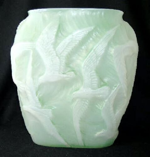 "Consolidated art glass green stained cased SEAGULL vase, 10 3/4"" h."