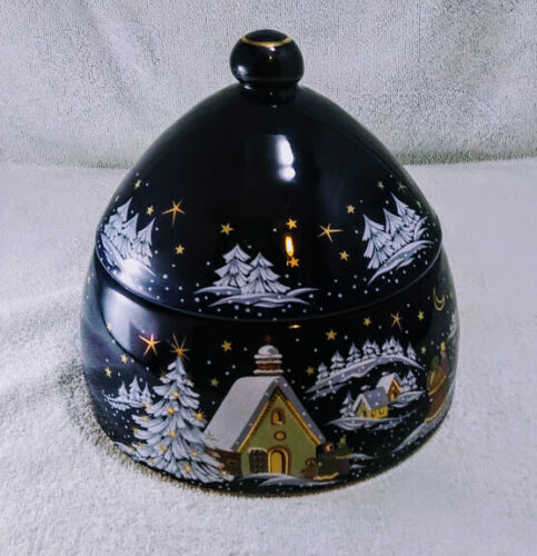 VINTAGE GERMAN EDUSCHO CHRISTMAS THEME CERAMIC COOKIE JAR W/COBALT GLAZING ~USED