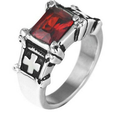 Fashion Stainless Steel Silver Men Red CZ Ruby Stone Cross Celtic Ring Size 7-15 ()