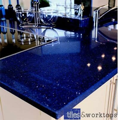Stardust Dark Blue Sparkling Quartz Kitchen Worktop   3000mm x 700mm x30mm