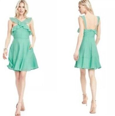 BANANA REPUBLIC MINT GREEN CROSS FRONT RUFFLE A-LINE DRESS $138 2P