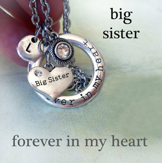 Big Sister Forever In My Heart Necklace, Swarovski Birthstone, Initial Charm