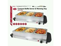Compact buffet server and warming tray