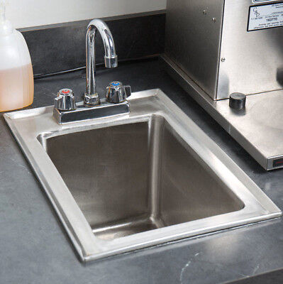 10 X 14 X 10 Stainless Steel Drop In Sink Commercial Hand Wash Bar W Faucet
