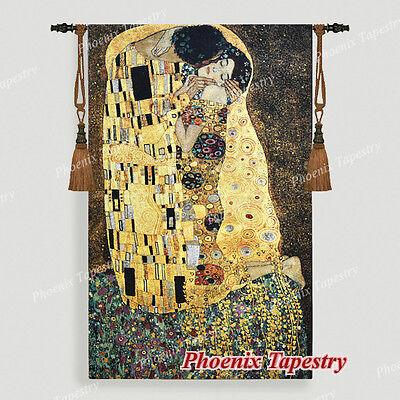 Gustav Klimt the Kiss (Golden Version) Tapestry Wall Hanging, 55