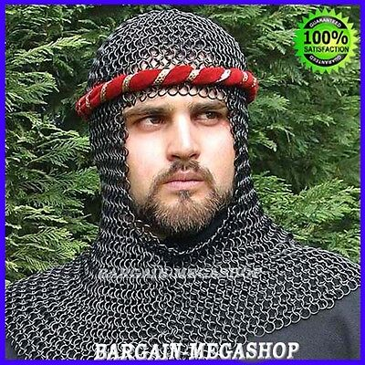 Chain Mail Coif Black Chainmail Hood Knight Armor Reenactment Costume Larp - Chainmail Knight Costume