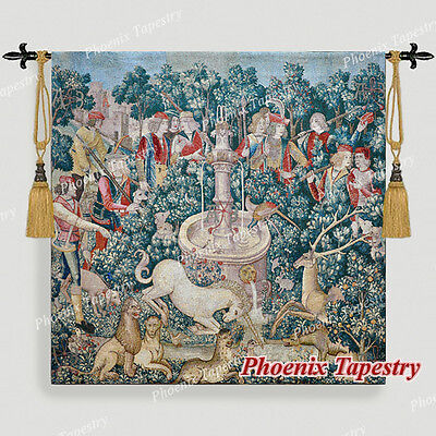 LARGE Hunt of the Unicorn Medieval Art Tapestry Wall Hanging Cotton 55