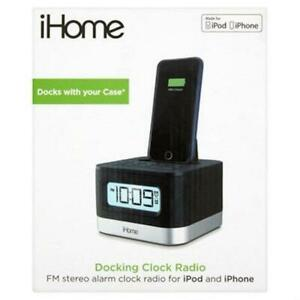 iHOME DOCKING CLOCK RADIO FM STEREO ALARM CLOCK FOR iPOD AND iPHONE - BLACK