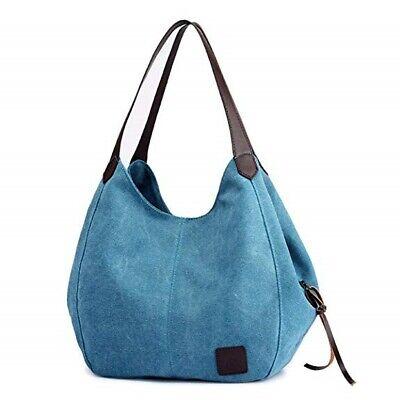 04 Canvas - Multi-pocket Cotton Canvas Handbags Shoulder Bags Totes Purses Gift for Women