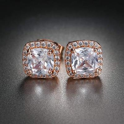 Rose Gold Plated Silver Asher Cut Halo Cubic Zirconia Post Earring