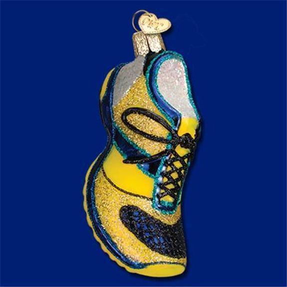 BLUE & YELLOW RUNNING SHOE OLD WORLD CHRISTMAS GLASS SNEAKER ORNAMENT NWT 32200