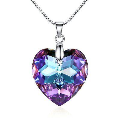 925 Silver Moonlight Purple Heart Necklace Valentine Love Swarovski Elements Purple Heart Crystal