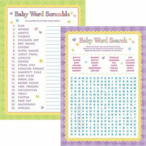 details about baby shower word games word search word scramble