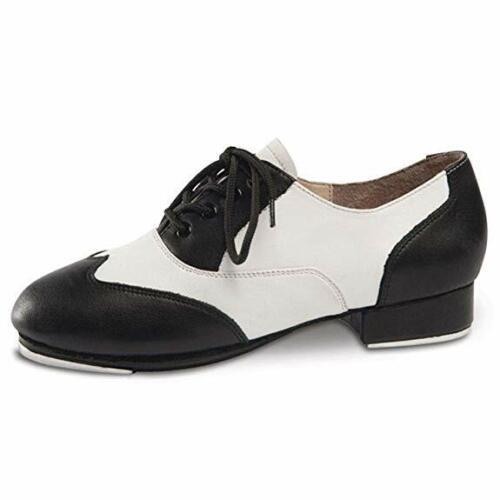 DanceNwear Danshuz Adult Black/White Saddle Style Tap Dance Shoes - Mult. Sizes