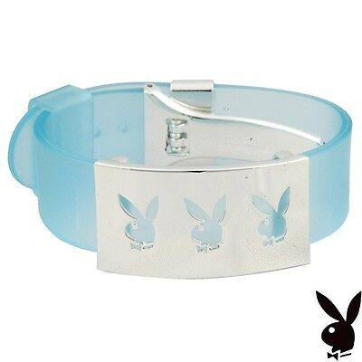 NEW Playboy Bracelet Bunny Stainless Steel Charm Blue Cuff Silver Plated RARE