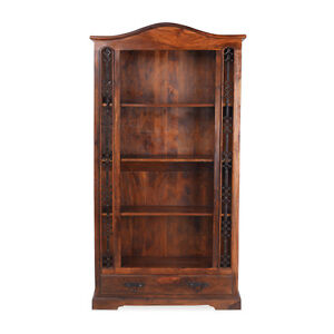 Jali Sheesham Tall Bookcase with Drawer Living Room Solid Wood Indian Furniture