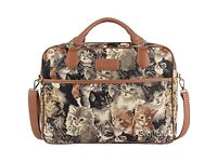"""Signare Tapestry Computer Bag for 15"""" MacBook Pro with Cat Design"""