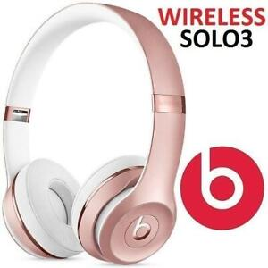 RFB BEATS SOLO3 WIRELESS HEADPHONES MNET2LL/A 251791598 SOLO 3 BLUETOOTH HEADPHONES ROSE GOLD AUDIO ON EAR SOUND ISOL...
