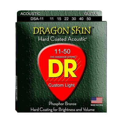 DR Strings Dragon Skin Clear Coated Acoustic Guitar Strings, Medium-Light 11-50 Dragon Skin Coated Light