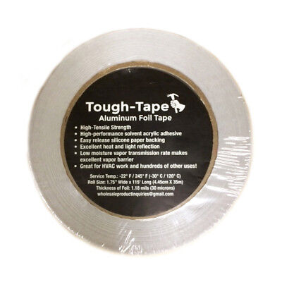 1 Roll 1.75 X 115 Aluminum Foil Tape High Temp For Vapor Barrier Hvac Etc
