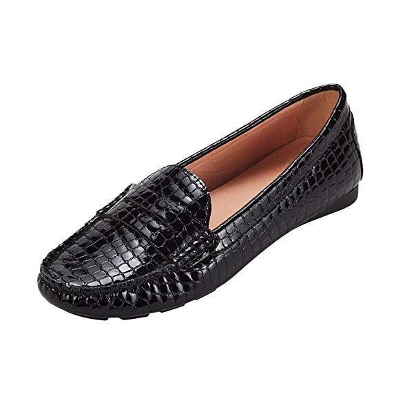 Womens Black Penny Loafer Shoes Vegan Leather Slip-On Comfortable Moccasins Flat