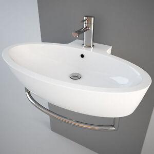 Lavabo lavandino sospeso appoggio spazio simas cm 73 x 45 5 - Lavandino bagno sospeso ...