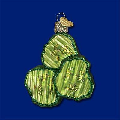 PICKLE CHIPS OLD WORLD CHRISTMAS GLASS CANNED VEGETABLE ORNAMENT NWT 28105