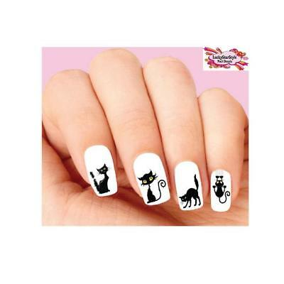 Waterslide Nail Decals Set of 20 - Halloween Scary Black Cat Assorted - Scary Halloween Nails
