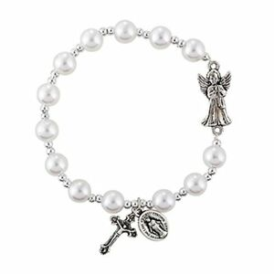 877bdd0f1e07e0 Girls First Holy Communion Gift Guardian Angel Faux Pearl Rosary Charm  Bracelet
