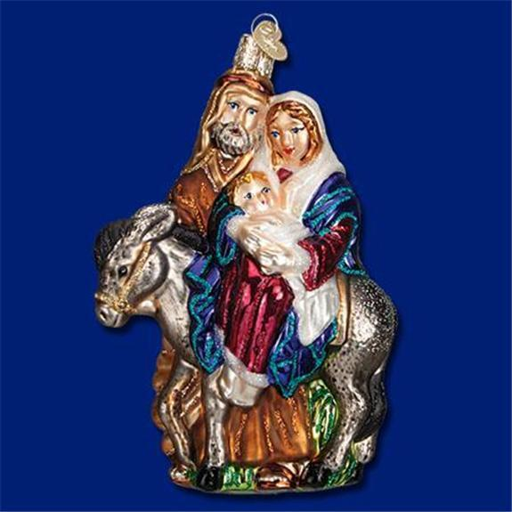 FLIGHT TO EGYPT MARY & JOSEPH OLD WORLD CHRISTMAS GLASS NATIVITY ORNAMENT 10209
