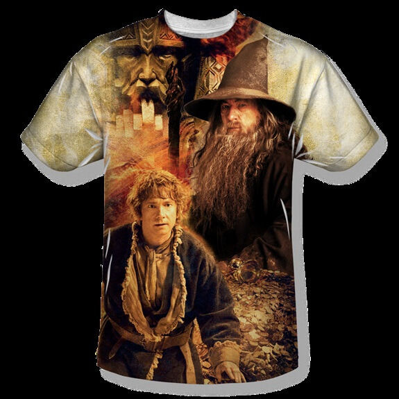 The Hobbit Bilbo and Gandalf Sublimation Front Print T-Shirt, NEW UNWORN