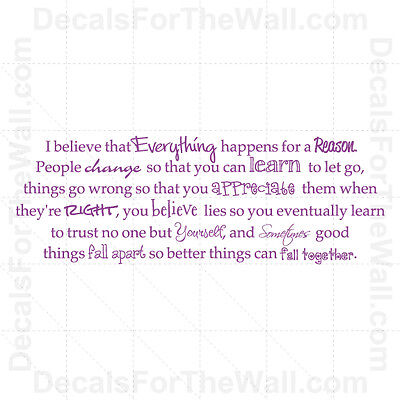 Everything Happens For A Reason Wall Decal Vinyl Art Sticker Quote Decor J74