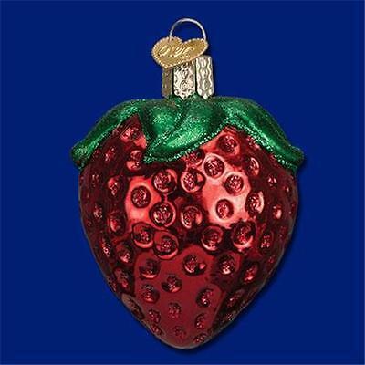 SUMMER STRAWBERRY OLD WORLD CHRISTMAS GLASS FRUIT PRODUCE GARDEN ORNAMENT 28106 ()