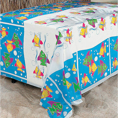 2 TROPICAL FISH TABLECLOTHS LUAU TABLE COVER PLASTIC DECORATIONS (Plastic Tropical Fish)