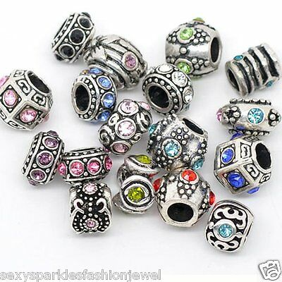 10PCs Mixed Silver Tone Rhinestone European Charm Spacer Beads Fit Bracelets Charms & Charm Bracelets
