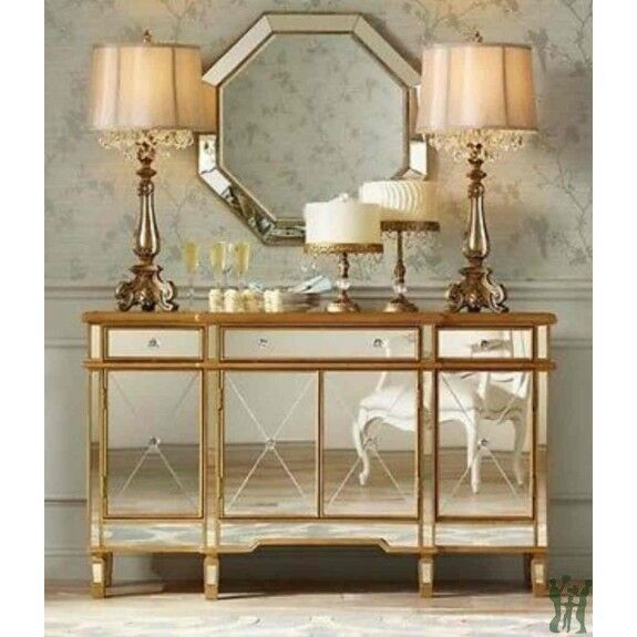 Console 3 Drawers 4 Doors Gold And Mirrored   Powell Company