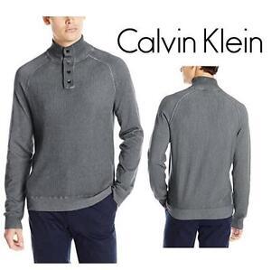 NEW CALVIN KLEIN SWEATER MEN'S LG TURBULENCE - CLOUD WASH WAFFLE MOCK - SHIRT 99688078