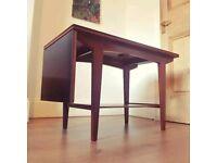 Retro mid century teak Vanson sliding drop leaf coffee table black formica
