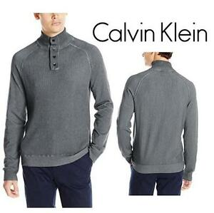 NEW CALVIN KLEIN SWEATER MEN'S LG TURBULENCE - CLOUD WASH WAFFLE MOCK - SHIRT 99688078