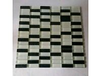 Black and White Glass Mosaic Tile Sheets (12 Sheets)