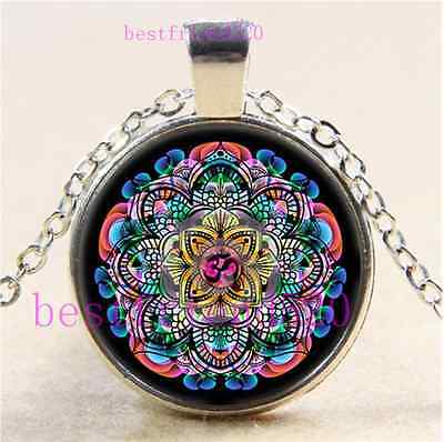 Om Mandala Photo Cabochon Glass Tibet Silver Chain Pendant Necklace